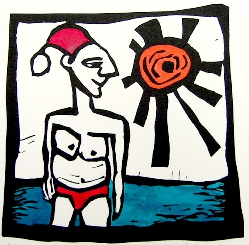 "<h4 style=""margin:0px 0px 5px 0px;"">Santa</h4>Medium: Handcoloured Linocut<br />Price: $110 <span style=""color:#aaa"">
