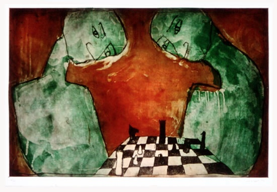 "<h4 style=""margin:0px 0px 5px 0px;"">Worlds Apart</h4>Medium: Etching/Drypoint<br />Price: $500 <span style=""color:#aaa"">