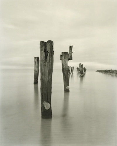 "Steamer Jetty. 2<br /><br />Medium: Silver Gelatin Contact Print Pinhole Camera<br />Price: $800<br /><a href=""Artwork-Tatnall-SteamerJetty.2-3092.htm"">View full artwork details</a>"