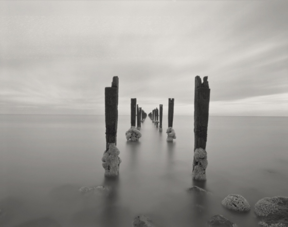 "Sulphur Jetty. 2<br /><br />Medium: Silver Gelatin Contact Print Pinhole Camera<br />Price: $800<br /><a href=""Artwork-Tatnall-SulphurJetty.2-3094.htm"">View full artwork details</a>"