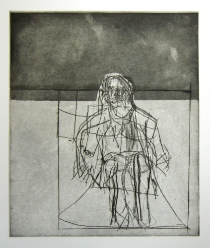 "<h4 style=""margin:0px 0px 5px 0px"">Interior/exterior with seated figure (black)</h4>Medium: Etching<br />Price: $700 