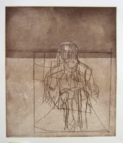 "<h4 style=""margin:0px 0px 5px 0px"">Interior/exterior with seated figure (brown)</h4>Medium: Etching<br />Price: $700 